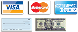 We accept Visa, MasterCard, American Express, Cash, Check.